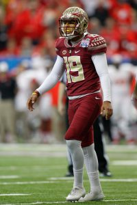 Dec 31, 2015; Atlanta, GA, USA; Florida State Seminoles place kicker Roberto Aguayo (19) in action against the Houston Cougars in the first quarter in the 2015 Chick-fil-A Peach Bowl at the Georgia Dome. Mandatory Credit: Brett Davis-USA TODAY Sports